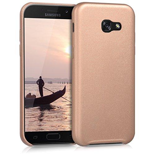 kwmobile Funda Compatible con Samsung Galaxy A5 (2017) - Carcasa de Cuero sintético para móvil - Cover en Oro Rosa