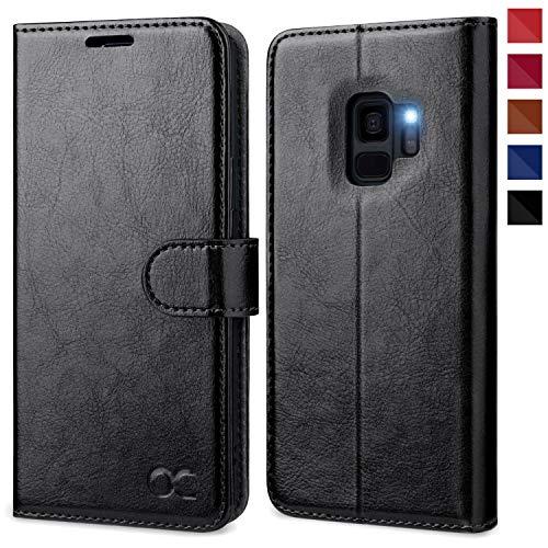 OCASE Samsung Galaxy S9 Hülle, Handyhülle Samsung Galaxy S9 [Premium Leder] [Standfunktion] [Kartenfach] [Magnetverschluss] Schlanke Leder Brieftasche für Samsung Galaxy S9 (5,8 Zoll) (Schwarz)