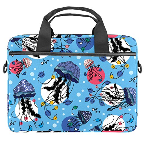 Laptop Bag Marine Jellyfish Pattern Underwater Notebook Sleeve with Handle 13.4-14.5 inches Carrying Shoulder Bag Briefcase