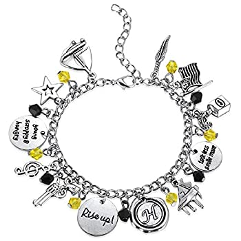 Kvekstio Alexander Hamilton Broadway Musical Merchandise Charms Bracelet with Pistol Musical Quotes for Teen Girls Adjustable