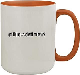got flying spaghetti monster? - 15oz Colored Inner & Handle Ceramic Coffee Mug, Orange