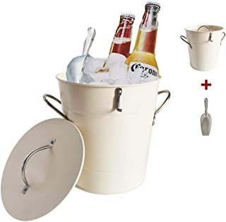 PENGKE Cream White 4L Metal Double Walled Ice Bucket Set With Lid And Scoop,Suitable for Champagne Wine Beer Whisy Bottle Drink