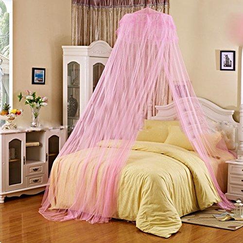 Preisvergleich Produktbild Flikool WeiBe Spitze Betthimmel Moskitonetzen fur Draussen & Zuhause Moskitonetz Mosquito Nets Geeignet fur Die Dimension Unter 1.8 x 2 m - Rose