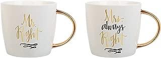 Slant Set of 2 Ceramic Coffee Mugs - Mr. Right & Mrs. Always Right