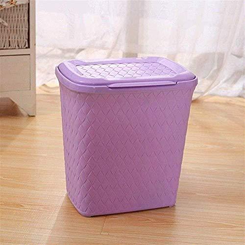 LIN-rlp Botes de Basura de Basura Plaza Can Cocina Cubo de la Basura/Touch Top Bin/Swing Tapa del contenedor/Papelera de Reciclaje con la Cubierta plástica Rectangular