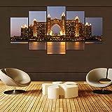GONGXIANG Lienzo Art Deco De Pintura Moderna para Sala De Estar O Dormitorio Hotel Dubai por La Noche 5 Piezas De 80X150Cm XXL