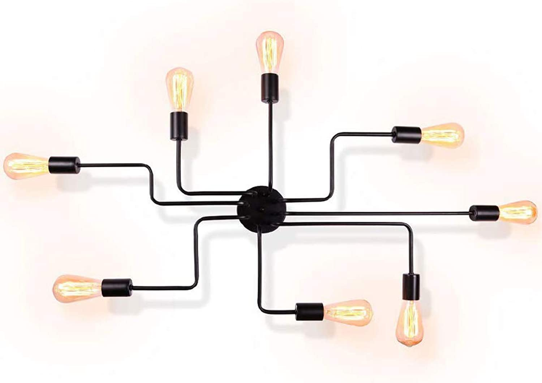 LMAPUNDIT 8-Light Sputnik Ceiling Light, Modern Industrial Metal Art Flush Mount Ceiling Lighting Fixture, Matte Black Finish, UL Certificated