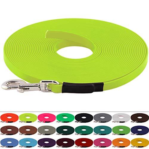 LENNIE BioThane Schleppleine, 13mm, Hunde 15-25kg, 5m lang, ohne Handschlaufe, Neon-Gelb, genäht
