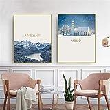 Moderno Cartel nórdico Paisaje Alpes bávaros Alemania Lienzo Arte impresión Pared Cuadros para Sala de Estar Dormitorio decoración del hogar-50x70cmx2 sin Marco
