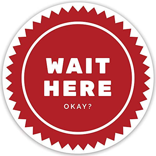Wait HERE Social Distancing Floor Stickers - Pack of 10 Signs, 12' Round RED Large Decals for (6ft) six feet Social Safety Floor Marker; for Stores, Shops, Restaurants ; Best for Interior Design