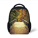 Kids School Backpack Apartment Decor,Retro Wooden Bridge with Fallen Pale Leaves on it Reaches to an Autumn Forest Decorative, Plain Bookbag Travel Daypack