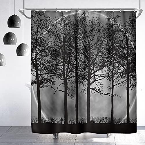 Riyidecor Fabric Men Forest Moon Shower Curtain Set for Bathroom 72Wx72H Inch Dark Black Nature Gothic Tree Scenery Foggy Woodland Bath Curtain Outdoor Bathtub Accessories Art Decor 12 PC Plastic Hook
