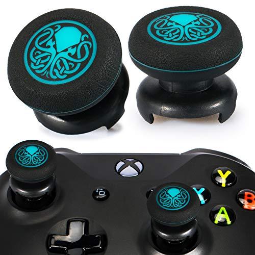 Playrealm FPS Thumbstick Grip Copri Levette Analogiche e Estensore Stampa Gomma da Cancellare Silicone Presa Copertina 2 Set per Xbox One (Cthulhu Abisso Blu)