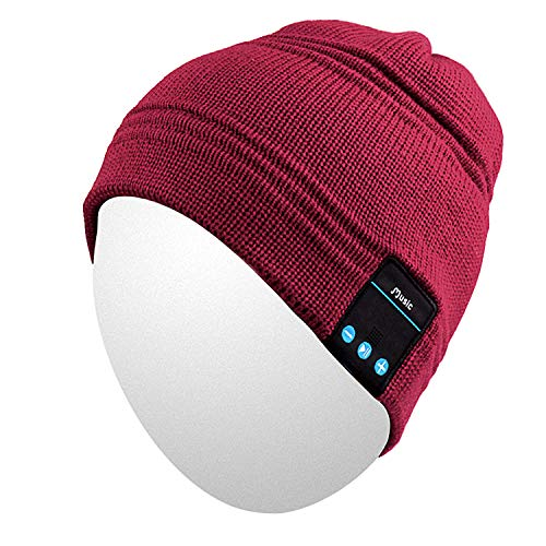 Qshell Winter Bluetooth Beanie Hat Cap with Stereo Speaker Headphones, Microphone, Hands Free and Rechargeable Battery - Compatible with Mobile Phones, iPhone, iPad, Tablets, Android Smartphones - Red