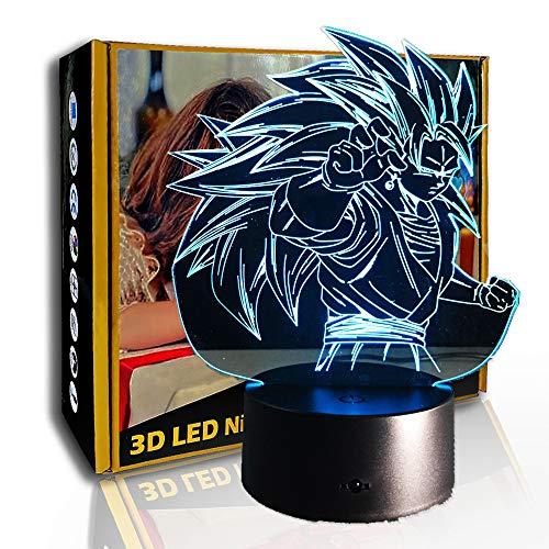 JINYI 3D Nachtlicht Dragon Ball Super Goku, LED Illusion Tischlampe, A - Black Base Berühren (7 Farbe), Geschenk für Mädchen, Schreibtischlampe, Bar Dekor, Dekor Geschenk