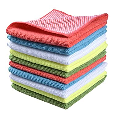 Sinland 5 color assorted Microfiber Dish Cloth Best Kitchen Cloths Cleaning Cloths With Poly Scour Side 12Inchx12Inch10 Pack (Pinkx2+bluex2+whitex2+yellowx2+greenx2)