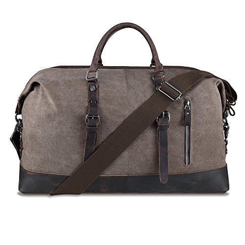 Borsone Borsa da Viaggio Weekend Bag Uomo Donna Borsa a tracolla di tela e pelle Casual Viaggi Tote Deposito Satchel Handbag vagabondo Borsoni (Caffè)