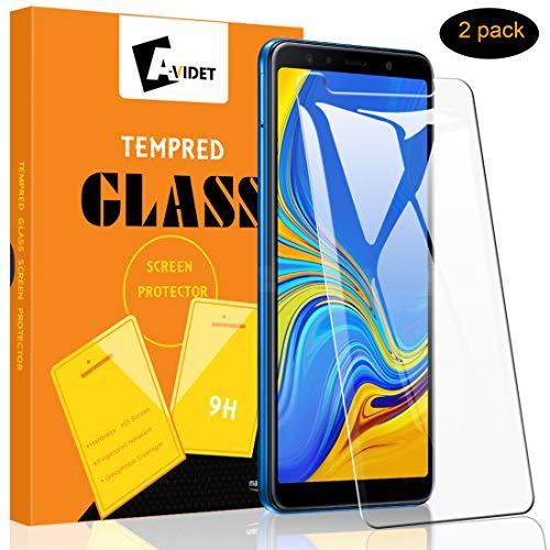 A-VIDET 2 Stück Panzerglas für Samsung Galaxy A7, 9H Härte Schutzfolie Anti-Kratzer/Anti-Öl/Anti-Bläschen/Anti-Staub Bildschirmfolie Panzerglasfolie für Samsung Galaxy A7 2018