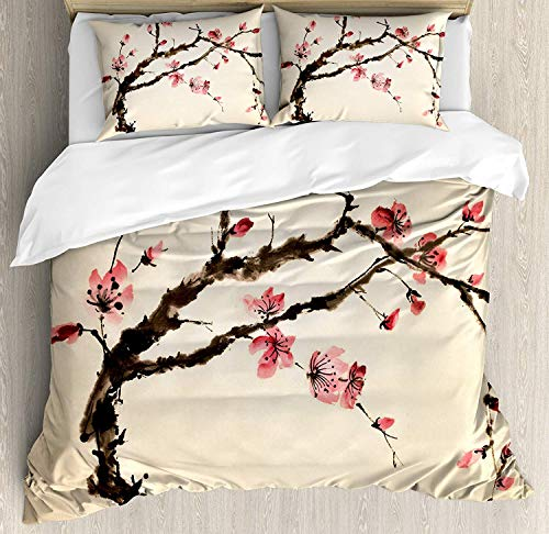 JOEYFAYE Oriental Ink Painted Duvet Cover Set, Microfiber Bedding With Pillowcase 50 * 75cm, Zipper Closure. 230 * 260cm East