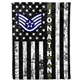 Personalized Name Rank United States US Air Force Soldier USAF Military Veteran Airman Birthday Christmas Fleece Sherpa Blanket Bed Throw Tapestry Wall Hanging (Custom Air Force, Fleece - 50x60)
