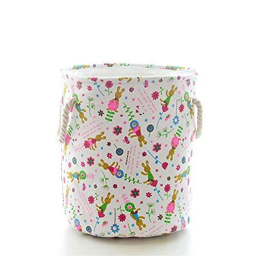 JOMSK Cesta de lavandería Grande para Dormitorio Juguetes de Dibujos Animados de Almacenamiento Hogar Cubo Plegable portátil Ropa Sucia Cubo Cesta de Ropa Sucia (Color : White, Size : 41x41x4.5cm)