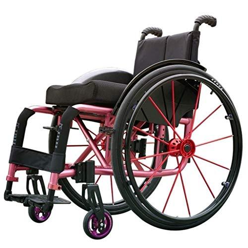 DIEFMJ Deportes en Silla de Ruedas, desmontaje rápido Manual de aleación de Aluminio con Pedal Ajustable Bolsa de Almacenamiento de Llantas neumáticas Autopropulsada para/Ancianos