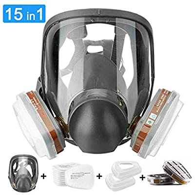 JOEAIS 15in1 Full Face Large Size Respirator,Full Face Wide Field of View,Widely Used in Organic Gas,Paint spary, Chemical,Woodworking for 6800 from JOEAIS