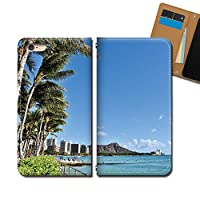 AQUOS sense4 lite SH-RM15 ケース スマホケース 手帳型 ベルトなし HAWAII ハワイ ヤシの木 手帳ケース カバー バンドなし マグネット式 バンドレス EB337010115501