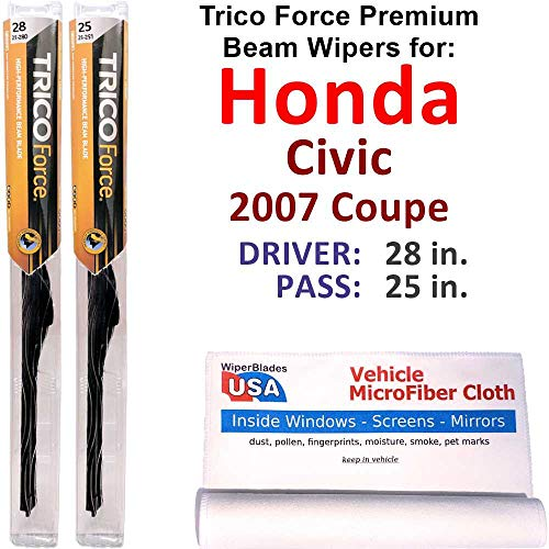 Premium Beam Wiper Blades for 2007 Honda Civic Coupe Set Trico Force Beam Blades Wipers Set Bundled with MicroFiber Interior Car Cloth