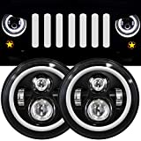 7 Inch LED Halo Headlights with Turn Signal Amber White DRL Compatible with 2007-2017 Jeep Wrangler JK JKU...