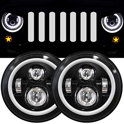 7 Inch LED Halo Headlights with Turn Signal Amber White DRL Compatible with 2007-2017 Jeep Wrangler JK JKU Headlamp Replacement-1 Pair Black