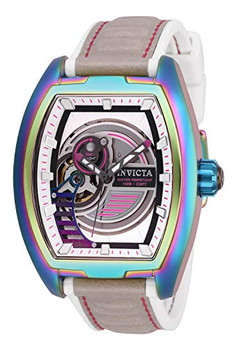 Invicta Men's S1 Rally Stainless Steel Automatic-self-Wind Watch with Leather-Synthetic Strap, White, 22 (Model: 26891)