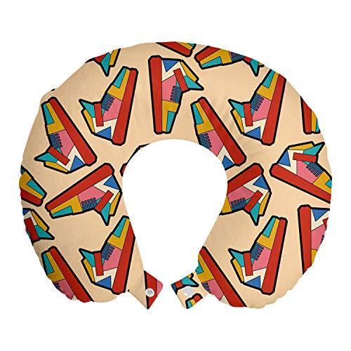 ABAKUHAUS Bunt Reisekissen Nackenstütze, Geometrische Art-Turnschuh, Schaumstoff Reiseartikel für Flugzeug und Auto, 30x30 cm, Blasse Pfirsich-Multicolor
