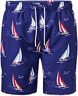 D555 Duke Mens Swim Shorts with Yacht Print Navy S M L XL (210902-R)