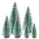 6 Mini Arboles de Navidad 10cm 15cm 20cm 25cm Arbol Artificial en Miniatura con Nieve Pino Cedro Sisal Nevado Arbol Pequeño Ornamentos Navideños Figuritas Miniaturas Decoracíon Escritorio Hogar