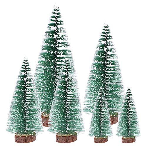 (10/15/20/25cm) 6Pcs Mini Weihnachtsbaum Tannenbaum Künstlicher Christbaum Tisch Tannenbaum Klein Miniatur Tanne mit Schnee-Effek Grün Weihnachtsdeko Weihnachten Tischdeko für DIY Basteln Schaufenster
