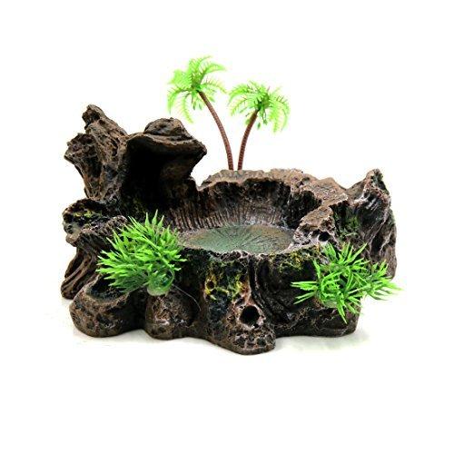 N/A Kunstharz, schwarz, realistisch, Baumstamm Design, Wasserschüssel, Terrarium, Dekoration für Reptilien