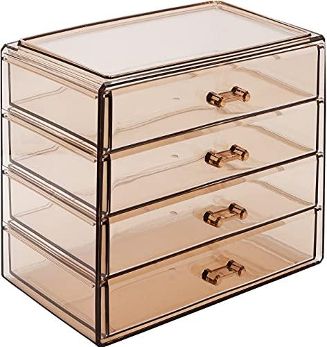 Sorbus Acryl-Aufbewahrungsbox für Kosmetik, Make-up und Schmuck, 4 große Schubladen, platzsparend, stilvolle Acryl-Badezimmerbox, ideal für Lippenstift, Nagellack, Pinsel, Schmuck und mehr (Bronze Glow)