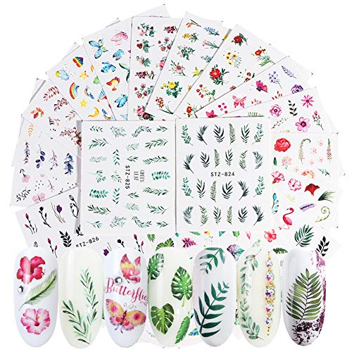 Summer Nail Stickers for Women Water Transfer Nail Decals 29 Sheets Nail Art Stickers Natural Leaf Flamingo Flower Nail Tattoos Design DIY Nail Art Supplies for Fingernail Toenails Decorations