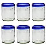 Vaso Tumbler Artesanal – Vidrio Reciclado – Borde azul - Juego de 6