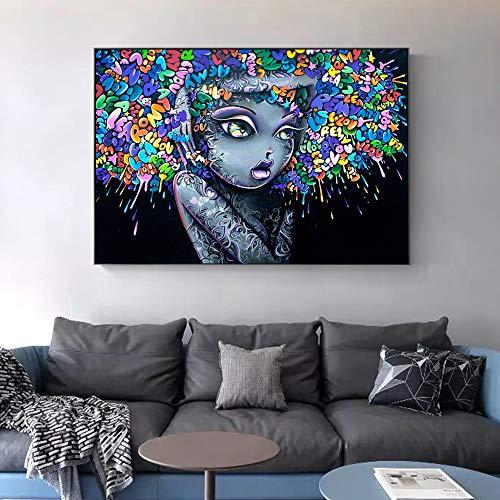 Geiqianjiumai mooie meisjes graffiti kunst afbeelding op canvas foto woonkamer pop Art Street Art linnen wand decoratie zonder lijsting 40x60 cm