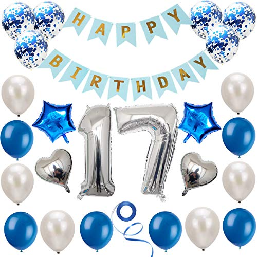 Juego de decoración de 17 cumpleaños azul plateado, decoración de cumpleaños, decoración de fiesta de cumpleaños, pancarta de feliz cumpleaños, decoración de globos de números plateados de 17 años