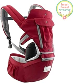 All-in-One Baby Breathable Travel Carrier Multi-Position Carrying for Infants Babies Toddlers Protective Leg Pads (Red)
