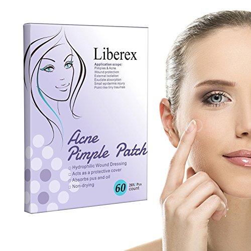Liberex acne puistpatch - onzichtbare hydrocolloïden absorberende pleisters, tegen acne en puistjes verwijderen, 20 stuks patches * 3 vellen, diameter 12 mm 60pcs
