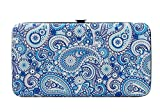 Chicastic Blue Paisley Print Flat Hard Clutch Wallet