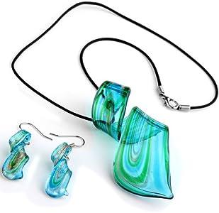 Ecloud Shop Conjunto Collar + Pendientes Cristal de Murano Espiral Azul