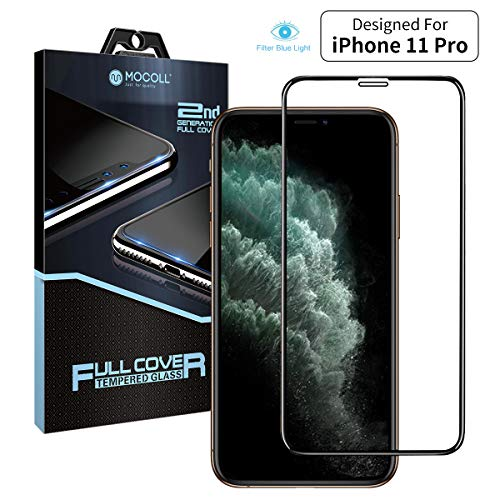 MOCOLL iPhone 11 Pro Anti Blue Light Screen Protector, 2nd Generation Full Glue Ultra Slim High Definition Full Screen Tempered Glass Eye Protector Film Compatible with iPhone 11 Pro(5.8inch)