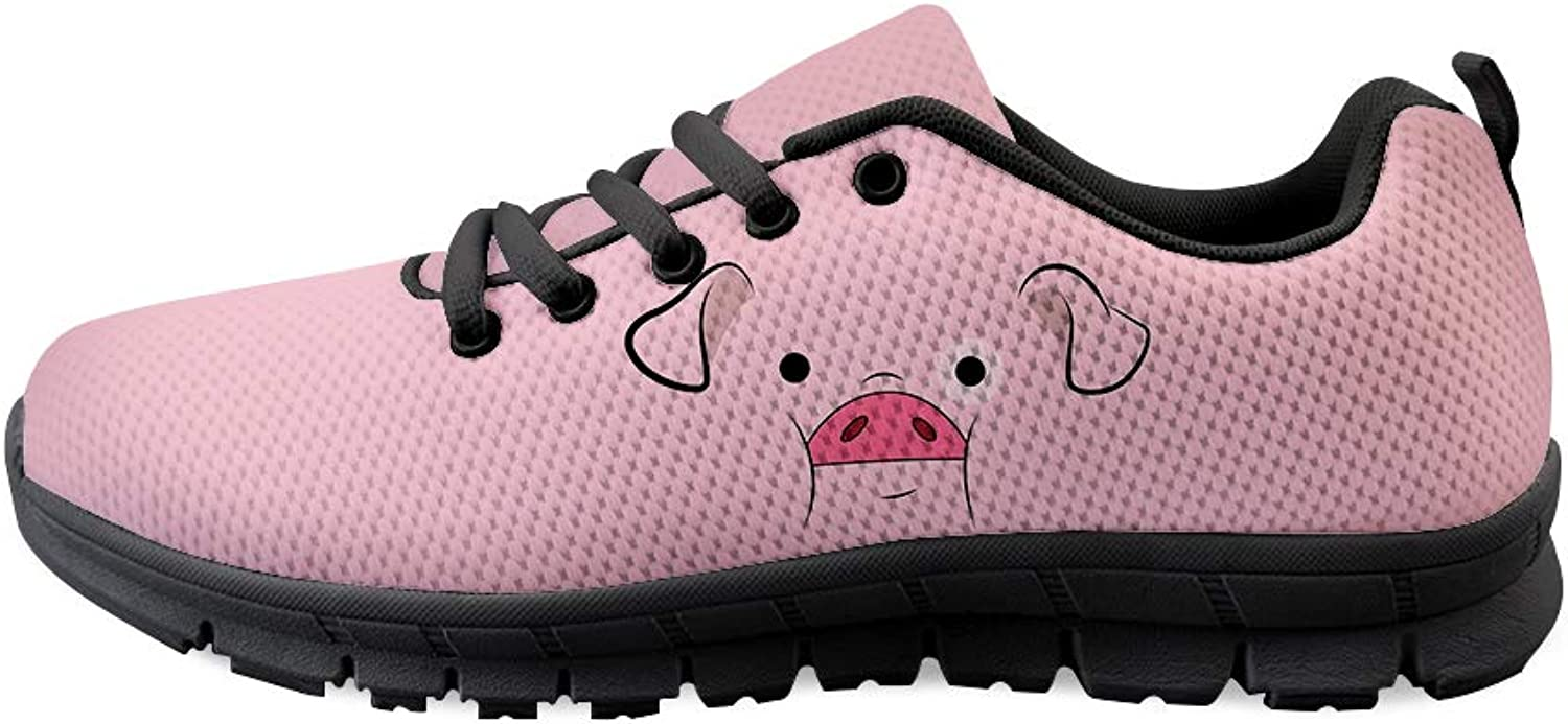 Owaheson Lace-up Sneaker Training shoes Mens Womens Pink Pig Hog Face