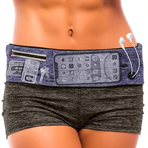 E Tronic Edge Running Belt : Best Waist Packs Fanny Pack Fits All Phones (Blue) Workout Cell Phone Holder Pouch Bag Travel Money Belt Jogging Accessories. Gifts for Women Gift Ideas for Mom & Her