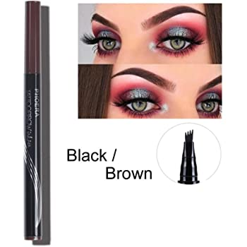3D Tattoo Eyebrow Pen with Four Tips, Aesy Microblading Eyebrow Marker Long-lasting Waterproof Smudge Proof Brow Gel for Eyes Makeup 1 Pack (Black/Brown #B)